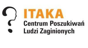Infolinia dla dzieci ITAKA: z lewej strony symbol fundacji, prawa nazwa fundacji