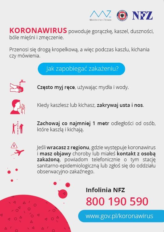 Plakat dotyczący profilaktyki zakażeń koronawirusem z numerem infolinii NFZ