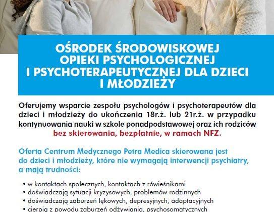 Wsparcie psychologiczne i psychoterapeutyczne dla dzieci i młodzieży