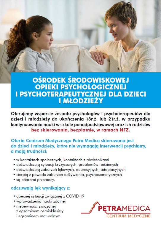 Awers ulotki dotyczącego opieki psychologicznej i psychoterapeutycznej dla dzieci i młodzieży Petra Medica; na dole opis trudności