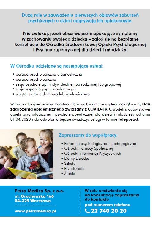 Rewers ulotki dotyczącego opieki psychologicznej i psychoterapeutycznej dla dzieci i młodzieży Petra Medica; formy pomocy, dane kontaktowe