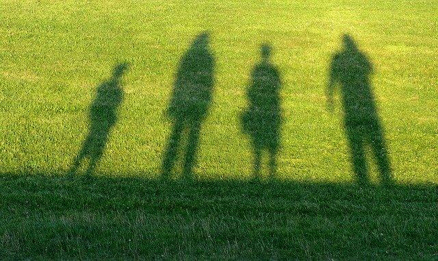 Cień rodziny na trawie