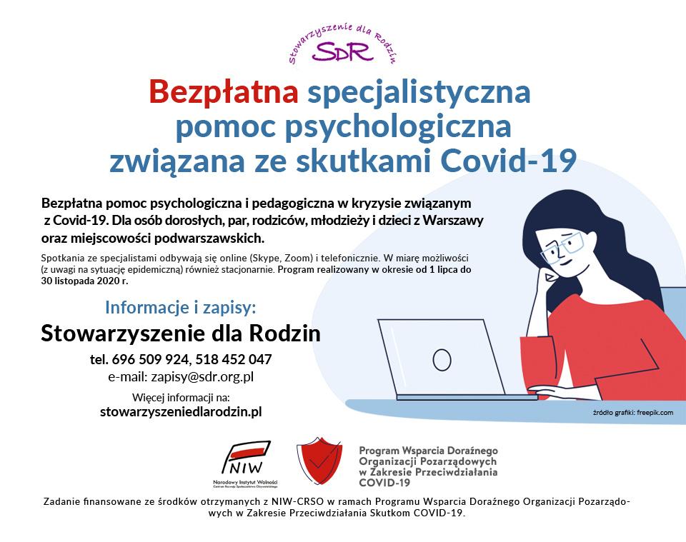 Ulotka bezpłatnej specjalistycznej pomocy psychologicznej związanej ze skutkami COVID-19 - Stowarzyszenie dla Rodzin