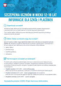 Szczepienia dla uczniów - informacje dla placówek - plakat